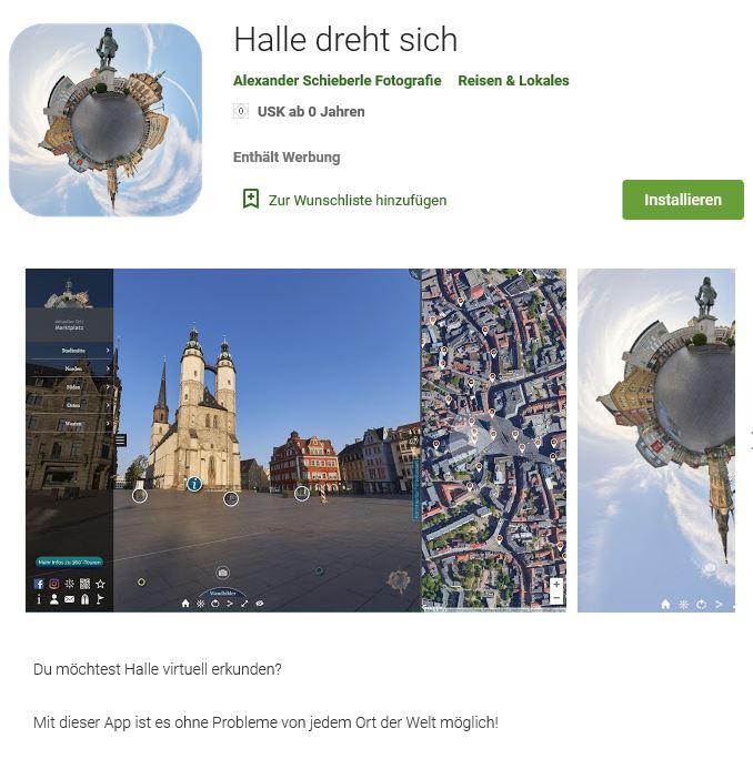 Halle dreht sich virtueller Stadtrundgang Halle Saale Android App