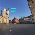 Sidebar Menü für virtuelle 360°-Stadttour durch Halle Saale