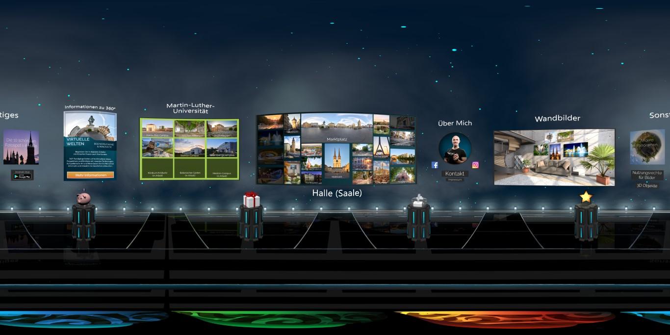 VR-Menü für virtuelle 360°-Stadttour durch Halle Saale